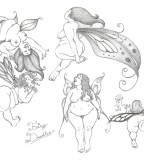 Cute Various Types of Fairy Tattoo Design Sketch