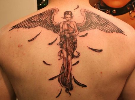 Love And Faith Angel Tattoo Design