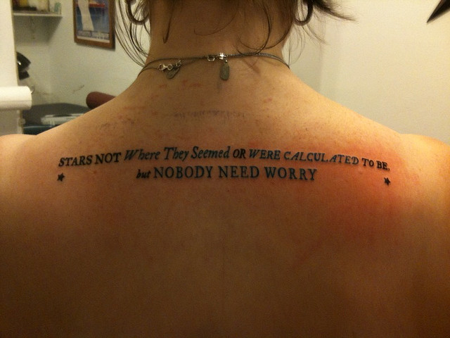 Upper Back Tattoo Quote Of Faith