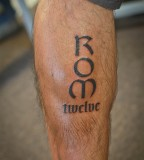 Lettering ROM Twelve - Leg Tattoo Design