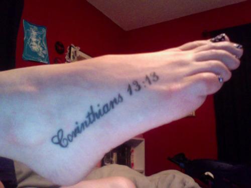 """Bible Verse """"Corinthians 13:13"""" Tattoo Design on Feet"""