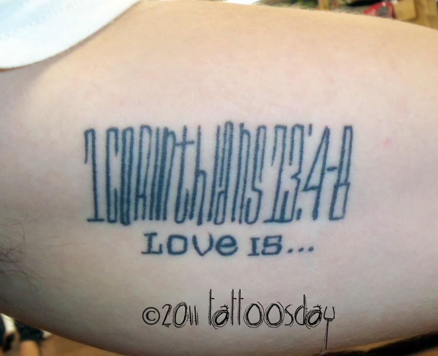 "Bible Verse Tattoo from ""1 Corinthians 13, Verses 4-8"""