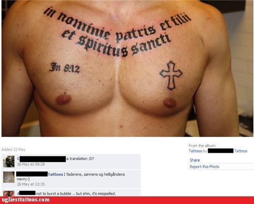 Misspelled Bible Verse Lettering Tattoo Design