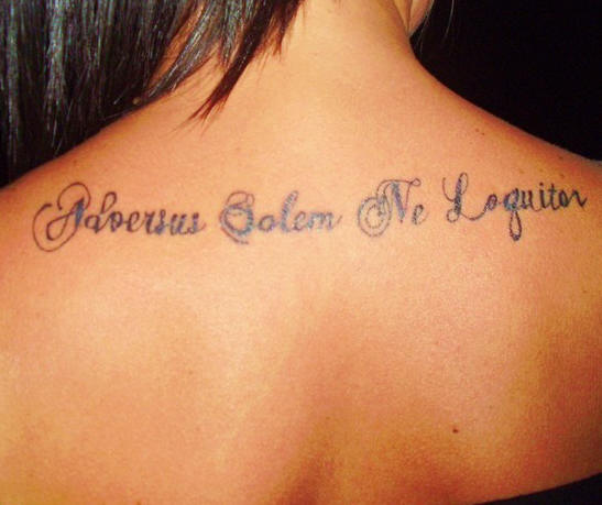 Inspiring Latin Phrase Tattoos On The Upper Back