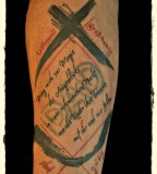 Forearms Latin Phrases Tattoos Designs