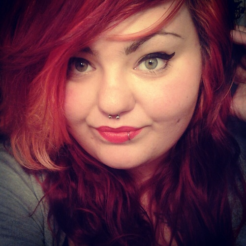 Beautiful Fat Girl with Red Lips Tattoo and Eyelash Tattoos