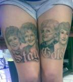 Fat Girl with Beautiful Golden Girls Tattoos on Legs