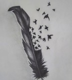 Marvelous Bird Crow Feather Tattoo Designs