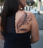 Cool Birds of A Feather Tattoo on Women Back Shoulder