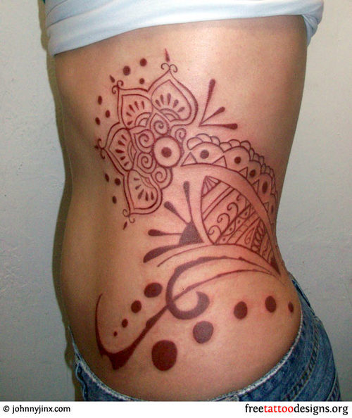 Feminine Traditional Polynesian Hip & Rib-cage Tattoo Design for Women