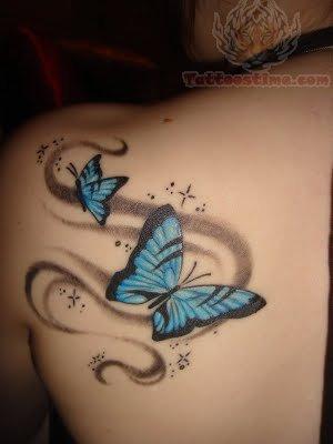 Feminine Sparkly Blue Butterfly Upper-back / Shoulder Tattoo Designs for Women