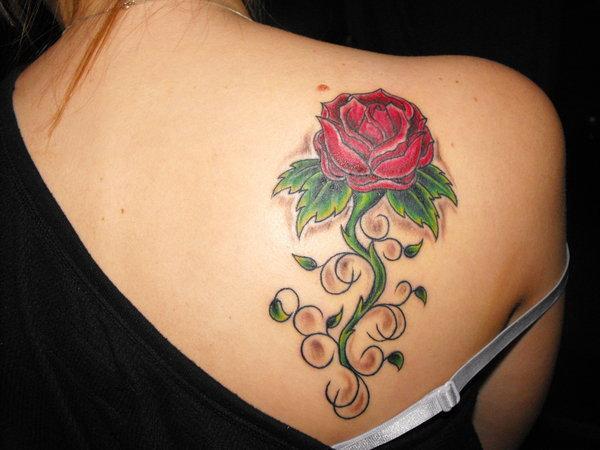 Beautiful Feminine Red Rose Upper-back Tattoo Designs for Women