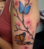 Beautiful Life-like Butterflies and Flowers Upper-arms Tattoo Design for Women