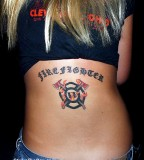Sexy Female Firefighter Tattoo on Back