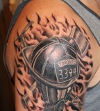 Black Design Fireman Tattoo PIctures