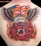 Sleeve Back Firefighter Tattoos PIctures