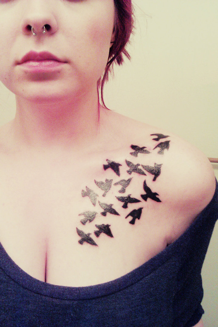 f4b6e66600fbc Flock Of Birds Pic Tattoo On Chest - | TattooMagz › Tattoo Designs ...