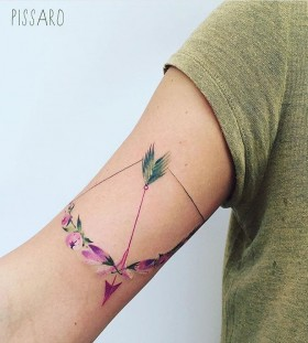 flower-bow-and-arrow-tattoo-by-pissaro_tattoo