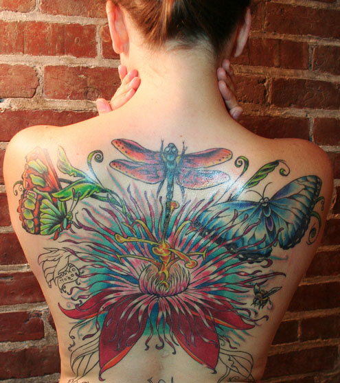 Butterfly And Flower Tattoos On Back for Women