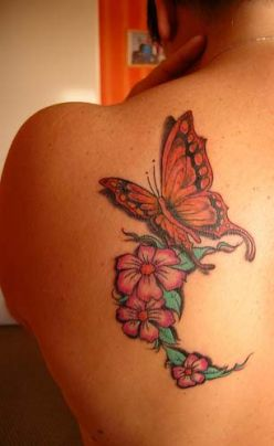 Butterfly And Flower Tattoos On Back for Girl
