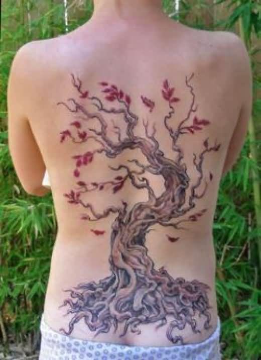 Beautiful Cherry Blossom Flower Tree Tattoo On Back