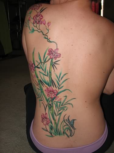 Flower Tattoo On Back Side For Girls