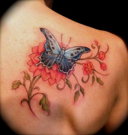 Flower nad Butterfly Back Tattoos Design for Women