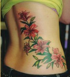 Flowers Tattoo Designs on Lower Back for Women
