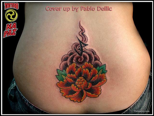Lower Back Flower Tattoo Design for Women