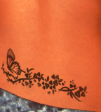 Butterfly Flower Tattoos on Lower Back for Women