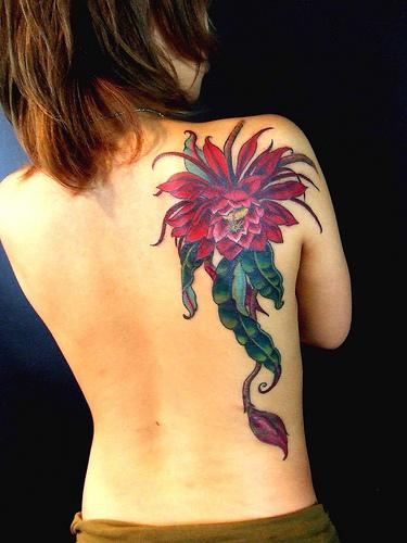 Rich Flower Tattoo On Back for Women