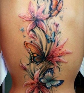 flowers and butterflies back flower tattoo