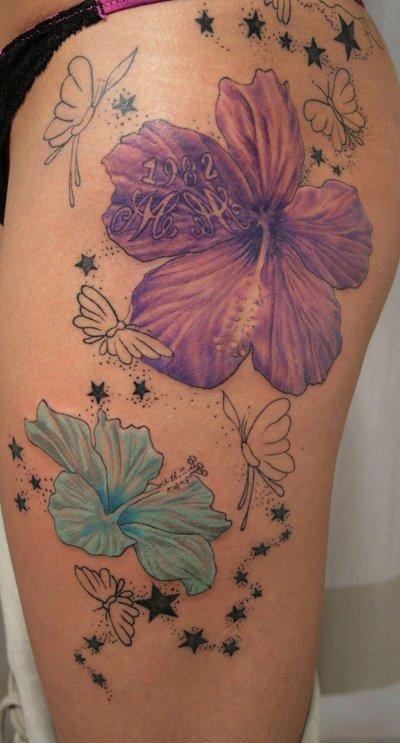1e1533168cdb1 2 Flower Stars Butterflies Tattoo On Thigh - | TattooMagz › Tattoo ...