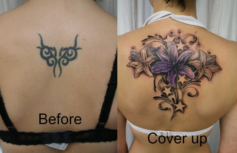 Cover Up Flowers Stars Color By 2face Tattoo Tattoomagz Tattoo
