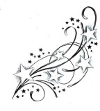 Tattoo Swirl Stars Sketch