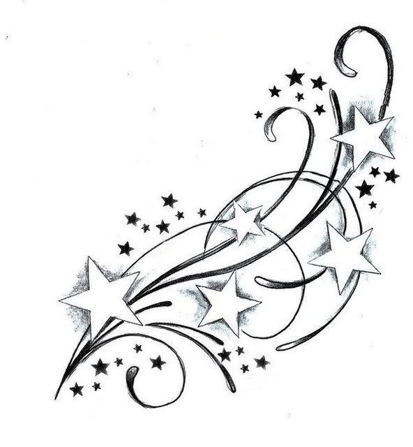 Tattoo Swirl Stars Sketch