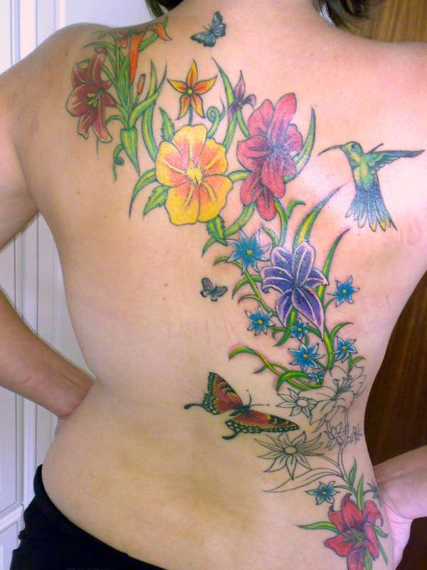 Colorful Flower Star And Butterfly Tattoo Designs