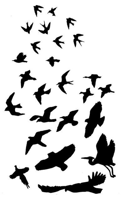 Fabulous Silhouette Of Flying Bird Tattoo Design