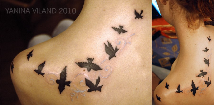 Exquisite Silhouette Of Birds In Flight Tattoo By Yanina Viland