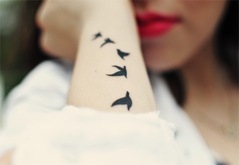 Inspiration Photo Of Flying Bird Silhouette Tattoo On Arm