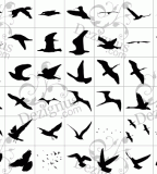 Flying Birds Silhouettes Tattoo Style Clipart