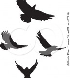 Black Fancy Flying Bird Silhouette Clip Art Tattoo Picture