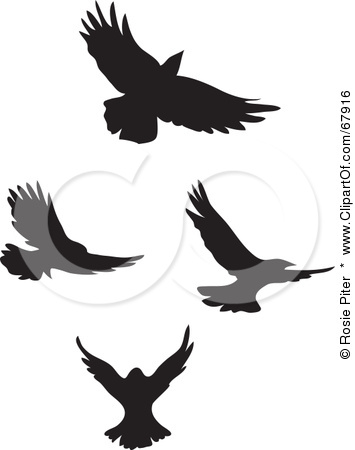 Black Fancy Flying Bird Silhouette Clip Art Tattoo Picture