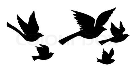 Wonderful Tattoo Of Flying Bird Silhouette