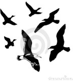 Artistic Vector Flying Birds Silhouettes Tattoo Design Ideas