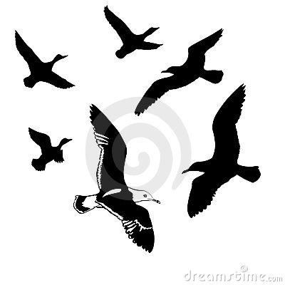 Artistic Vector Flying Birds Silhouettes Tattoo Design Ideas