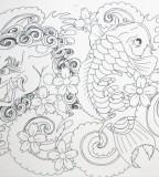 Foo Dog And Koi Tattoo Sketch