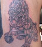 Foo Dog Tattoo Realistic Design