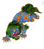 Green And Blue Ink Foo Dog Tattoo Design