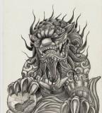 Foo Dog Tattoo Design For Temporary Tattoo